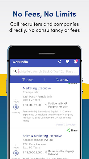 Job Search App - Free Direct HR Contact: WorkIndia 5.2.7.3 screenshots n 2