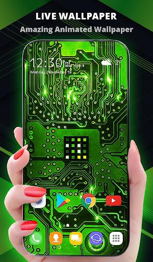 Green Light Cyber Circuit Wallpaper and Keyboard screenshot 1