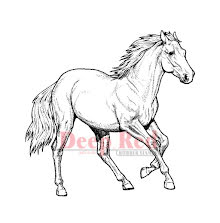 Deep Red Cling Stamp 3.25X3.2 - Wild Horse UTGÅENDE