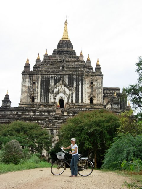 Traveller in a bicycle in Bagan