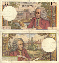 Photo: Voltaire (François-Marie Arouet), 10 French Francs (1964). This note is now obsolete. Voltaire was not a physicist or a mathematiciation, but a great author and satirist, a french philosophe.