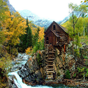 Crystal Mill* by Rob Bradshaw - Buildings & Architecture Decaying & Abandoned ( marble, aspen trees, crystal mill, fall, crystal river, marble colorado, autumn, colorado )
