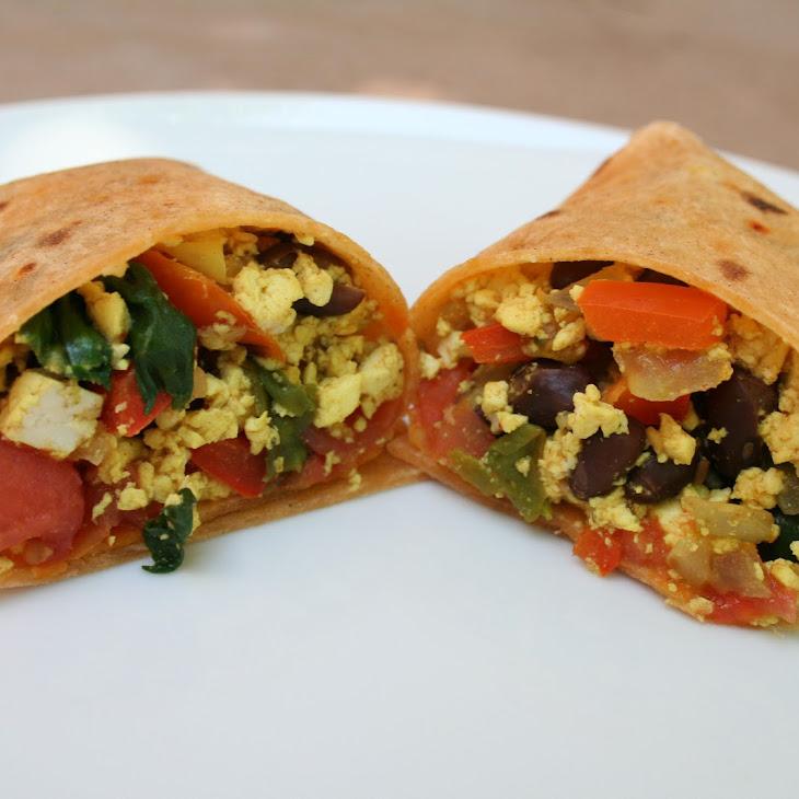 Tofu Scramble and Black Bean Breakfast Burrito