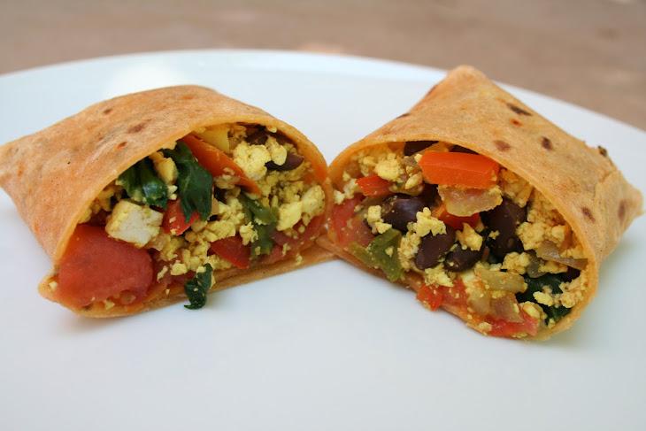 Tofu Scramble and Black Bean Breakfast Burrito Recipe