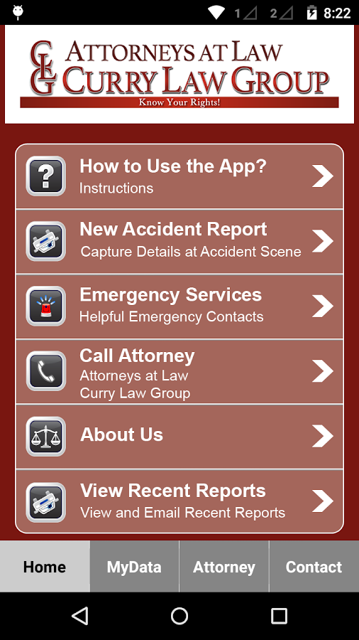 Curry Law Group Accident App- screenshot