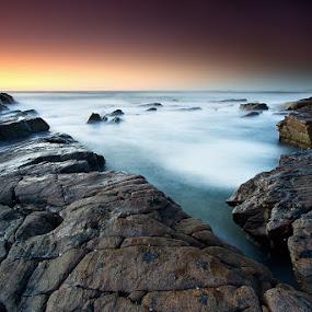 Gentle by Jason Asher - Landscapes Waterscapes ( water, sunshine coast, sand, point arkwright, coolum, scape, waterscape, waves, sea, beach, seascape, landscape, coastal, coast, sun, dawn, sunrise, rocks )