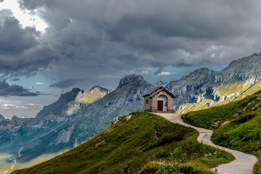 Chapel by Mario Horvat - Landscapes Mountains & Hills ( clouds, mountains, sky, green, sunset, path, chapel, landscape,  )
