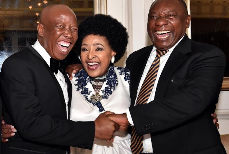Winnie Madikizela-Mandela flanked by Deputy President Cyril Ramaphosa and EFF leader  Julius Malema at her 80th birthday celebration. Picture: ELMOND JIYANE/GCIS