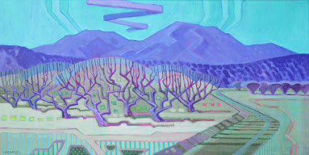 "Photo: ""Orchard Country"", acrylic on canvas 12"" x 24"", © Nancy Roberts"