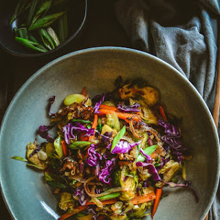 Brussels Sprouts Salad with Purple Cabbage and Sweet Chili Sauce Recipe