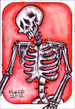Photo: Calaveras #34. 2 ½  inches x 3 ½  inches or 6 cm x 9 cm. Watercolor and ink on 110 lb. acid-free paper. Signed and dated on the front; title, date, and signature on reverse. Sealed with a matte finish. Comes in a clear rigid plastic top-loader. ©Marisol McKee