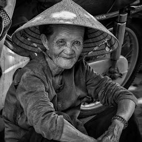 Vietnam - Woman on the street by Rick Pelletier - Black & White Street & Candid