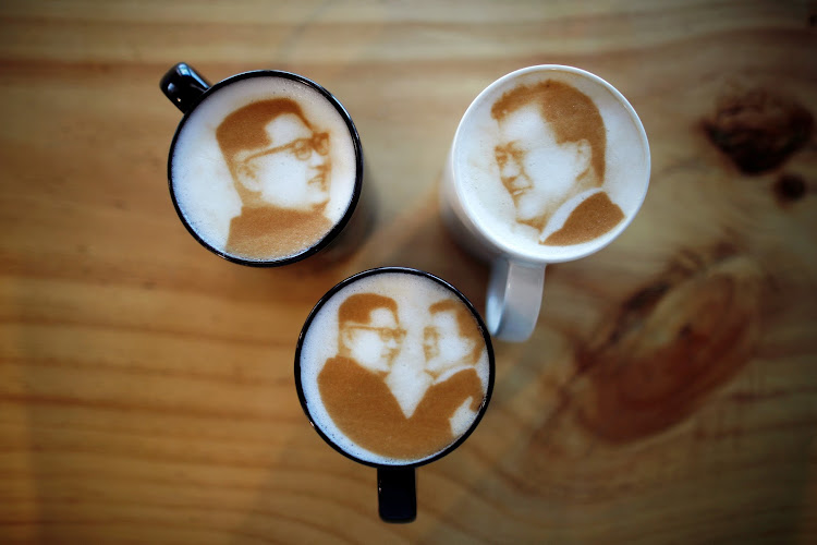 Pictures of North Korean leader Kim Jong-un and South Korean President Moon Jae-in decorate lattes at a coffee shop in Jeonju, South Korea.