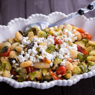 Roasted Gnocchi, Brussels Sprouts and Tomatoes.