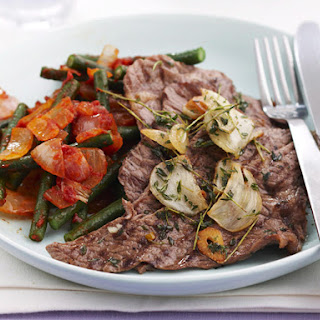 Minute Steak with Tomatoes and French Beans