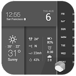 Clock Weather Forecast Battery Icon