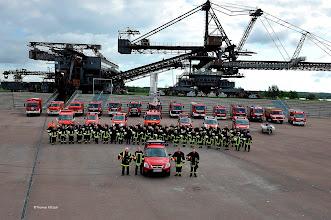 Photo: Gruppenfoto der Feuerwehren der Stadt Gräfenhainichen in Ferropolis