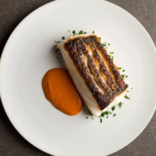 Crispy Pan-Seared Fish with Piquillo Pepper Sauce.