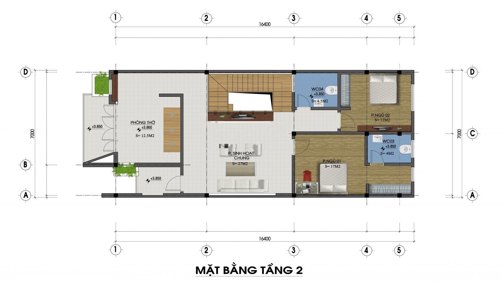 Mặt bằng tầng 2 mẫu nhà 2 tầng mặt tiền 7m