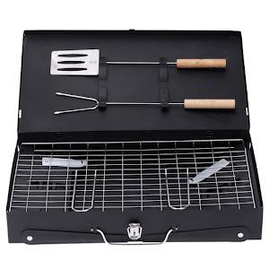 Gratar pliabil de gradina cu accesorii BBQ