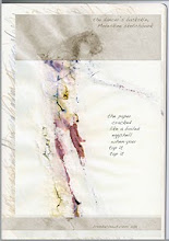 """Photo: The Dancer's Backskin, 2011, 21cm x 29cm, 8""""x11.5"""", ink, watercolour on Moleskin notebook paper.   - now an art video: http://youtu.be/Kg9867bn9QQ -   The drawing was an accident - I had bought a new Moleskine notebook, the largest ever for me. When I brushed water over  watercolour pencil the paper shredded badly and cracked like an eggshell when dry. Intrigued with the effect, and having seen Natalie Portman's incredible performance in Black Swan, the self-mutilation, the hallucinations, the madnesses, I thought of the underside of the dancer's life. Or her backskin.  In the image you see here, I layered a scan of the frontside of the drawing facing forwards (you can see it in the lines at the borders) under the backside which I made slightly opaque. I banded the dancer's face (some horror there, she is buried alive in her inhuman effort to be graceful for us), and her feet (to remind us of ballet as an echo of Geisha footbinding)."""