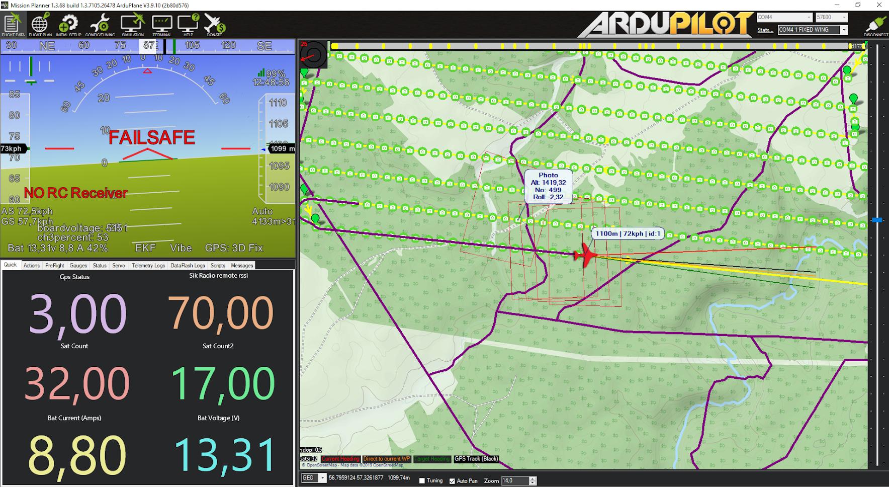 Телеметрия на экране программы-наземной станции Mission Planer