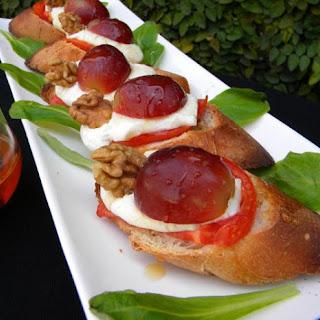 Goat Cheese Bruschetta with Grapes and Honey Recipe