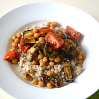 Barley Bowl with Spiced Aubergines, Chickpeas and Tomatoes.