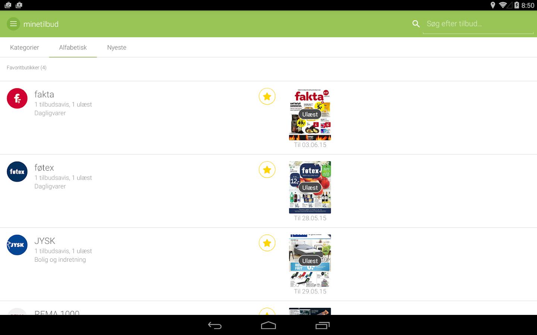 minetilbud- screenshot