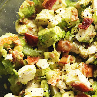 Keto Chicken Salad with Avocado and Bacon.