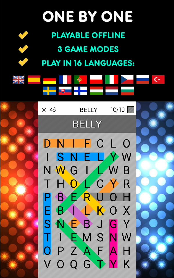 One By One - Multilingual Word Search Screenshot 0
