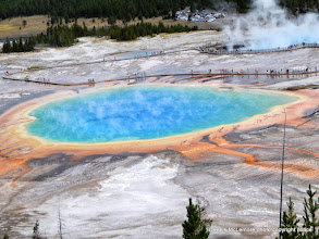 Photo: View of Grand Prismatic Spring from hillside on the Fairy Falls trail.