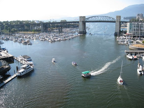 Photo: We walked over a long car bridge to Granville Island