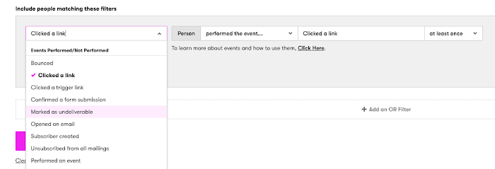 Predefined Events drop-down.
