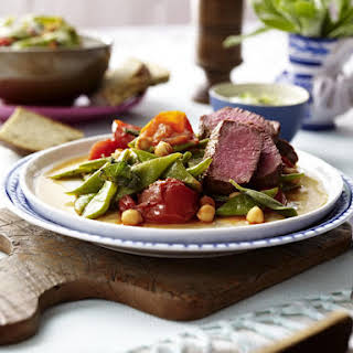 Lamb with Green Beans, Chickpeas and Tzatziki.