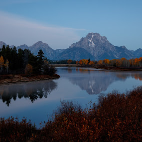 Oxbow Bend at Sunrise by Sandra Woods - Landscapes Mountains & Hills ( national park, snake river, oxbow bend, sunrise, grand tetons, river,  )