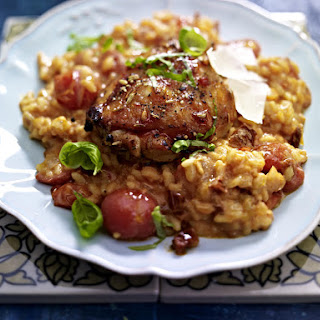 Tomato Risotto with Spiced Chicken