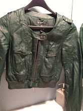 Photo: $25.  INC size PS forest green pleather motorcycle jacket.