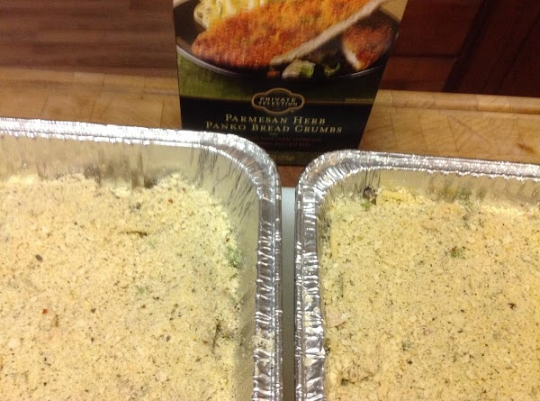 Cover each dish with Panko crumbs and bake at 350 for 30 minutes or...