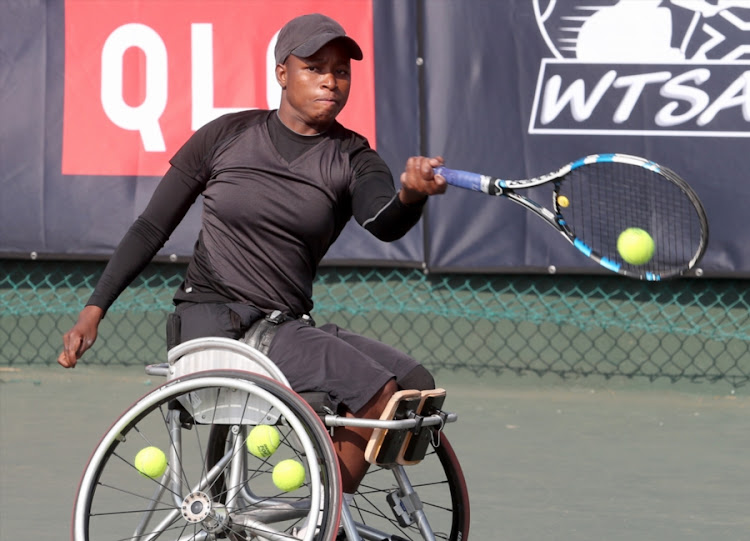 Kgothatso Montjane of South Africa in action in the semifinals of the womens singles during day 3 of the Wheelchair Tennis Joburg Open at the Arthur Ashe Tennis Centre on July 04, 2017 in Johannesburg, South Africa.