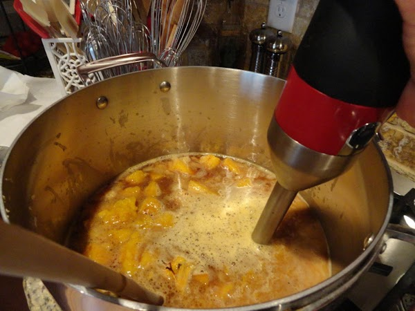 Add roasted pumpkin and stock. Puree with stick blender (or in batches in a...