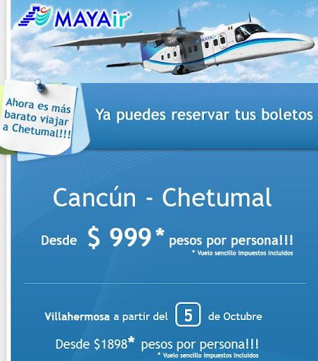 boleto de avion chetumal cancun