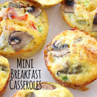 Mini Hashbrown, Bacon and Veggie Breakfast Casseroles.