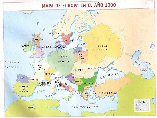 MAPA DE EUROPA EN EL AÑO 1000