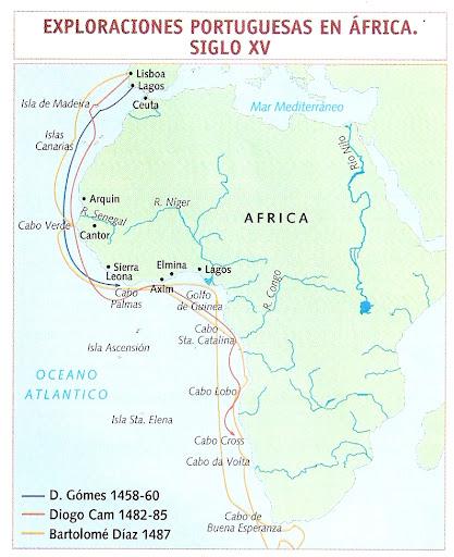 MAPA EXPLORACIONES PORTUGUESAS EN AFRICA