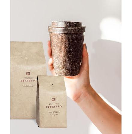 ETC:s ekologiska kaffe med take away kopp gjord av kaffesump