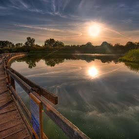 Foot Bridge by Don Guindon - Landscapes Waterscapes ( victoria bc, park, hdr, suset, bridge )