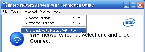Intel Wireless Connection Utility - Windows* 7