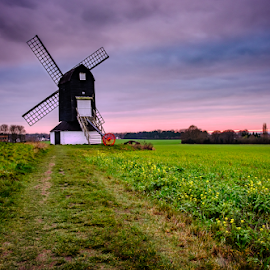Pitstone Windmill by Paul Phull - Buildings & Architecture Other Exteriors ( sky, field, windmill, sunsets )