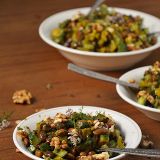 Kashmiri Kidney Beans and Apricot Salad with Coriander Vinaigrette.